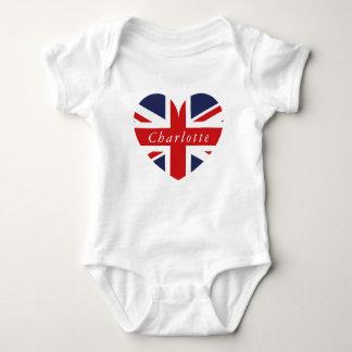 Body Para Bebê Coração BRITÂNICO conhecido personalizado da