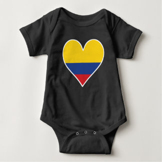 Body Para Bebê Coração colombiano da bandeira