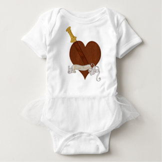 Body Para Bebê Coração com os danos do amor da espada