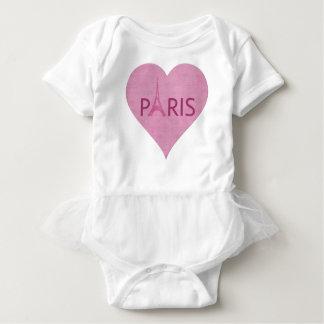 Body Para Bebê Coração cor-de-rosa da torre Eiffel de Paris