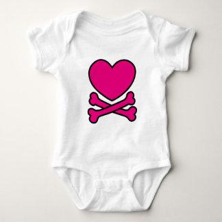 Body Para Bebê Coração + Crossbones