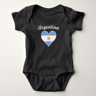 Body Para Bebê Coração da bandeira de Argentina