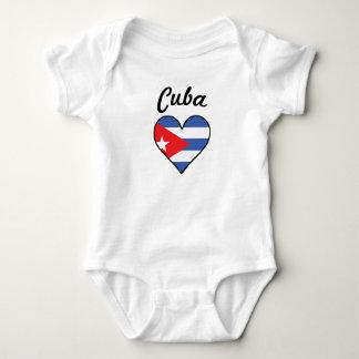 Body Para Bebê Coração da bandeira de Cuba
