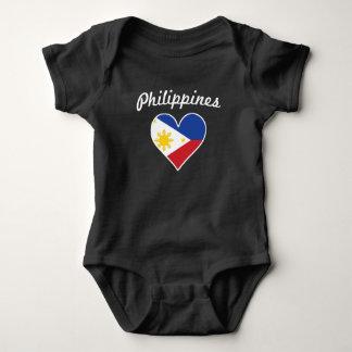 Body Para Bebê Coração da bandeira de Filipinas