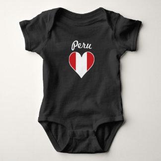 Body Para Bebê Coração da bandeira de Peru