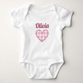 Body Para Bebê Coração da xadrez com nome