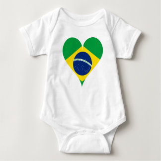 Body Para Bebê Coração de Brasil da bandeira do amor do coração