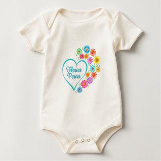 Body Para Bebê Coração de flower power