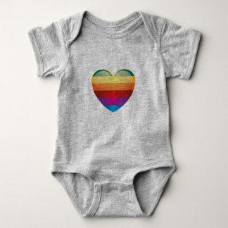 Body Para Bebê Coração do arco-íris