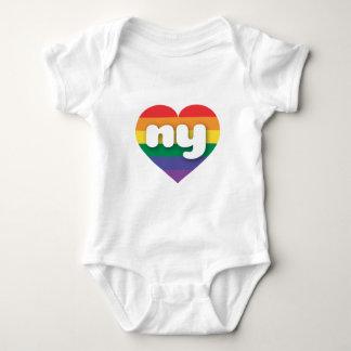 Body Para Bebê Coração do arco-íris do orgulho gay de New York -