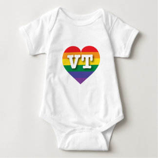 Body Para Bebê Coração do arco-íris do orgulho gay de Vermont -