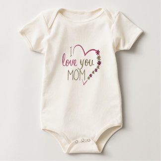 Body Para Bebê Coração do dia das mães da mamã do amor