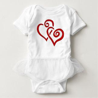 Body Para Bebê Coração dobro vermelho