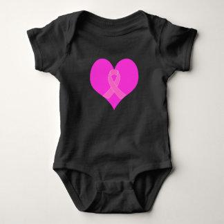 Body Para Bebê Coração e design da caridade do cancro da mama da