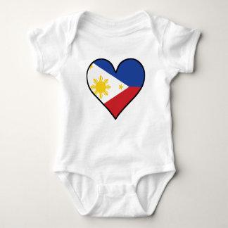 Body Para Bebê Coração filipino da bandeira