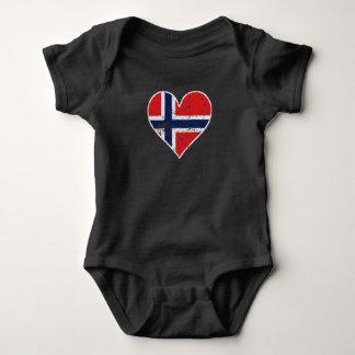 Body Para Bebê Coração norueguês afligido da bandeira