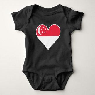 Body Para Bebê Coração singapurense da bandeira