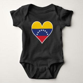 Body Para Bebê Coração venezuelano da bandeira