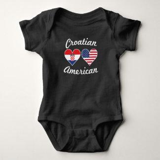 Body Para Bebê Corações croatas da bandeira americana