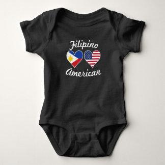 Body Para Bebê Corações filipinos da bandeira americana