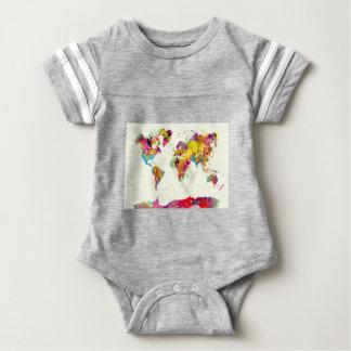 Body Para Bebê cores do mapa do mundo