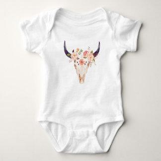 Body Para Bebê Coroa floral da flor do crânio   do touro da vaca