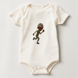 Body Para Bebê Corredor do soldado do afro-americano dos desenhos