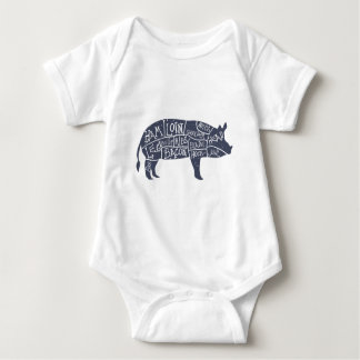 Body Para Bebê Cortes de carne de porco americanos, vintage