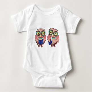 Body Para Bebê Coruja curiosa na cerceta Glasses2