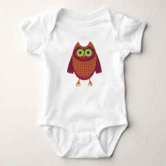 Body Para Bebê Coruja vermelho marrom