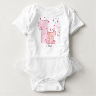 Body Para Bebê Costume do primeiro aniversario do elefante