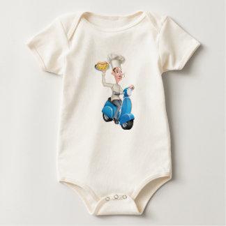 Body Para Bebê Cozinheiro chefe no Moped do patinete com Hotdog e