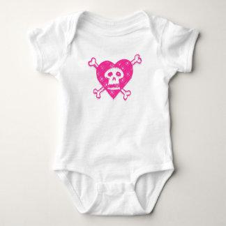 Body Para Bebê Crânio cor-de-rosa e Crossbones