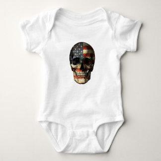 Body Para Bebê Crânio da bandeira americana