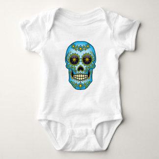 Body Para Bebê Crânio do açúcar - floral azul