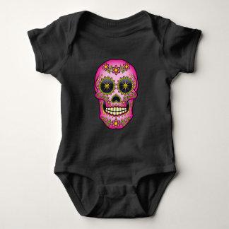 Body Para Bebê Crânio do açúcar - floral magenta