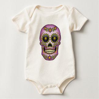 Body Para Bebê Crânio do açúcar - floral roxo
