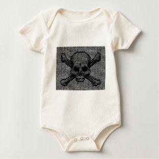 Body Para Bebê Crânio e Crossbones de código binário