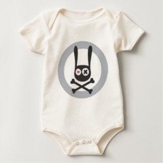 Body Para Bebê Crânio e Crossbones do coelho com coração e olho