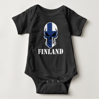 Body Para Bebê Crânio finlandês Finlandia da bandeira