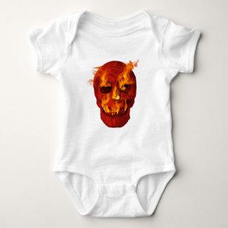 Body Para Bebê Crânio flamejante vermelho