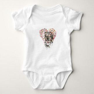 Body Para Bebê crânio no vidro, coração do vintage