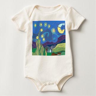Body Para Bebê Creeper da noite da noite estrelado