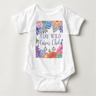 Body Para Bebê Criança de flor selvagem da estada - Boho floral