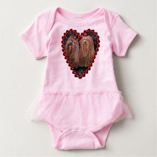 Body Para Bebê Criança Onsie do tutu do rosa do amor de Yorkie