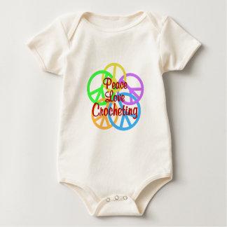 Body Para Bebê Crocheting do amor da paz