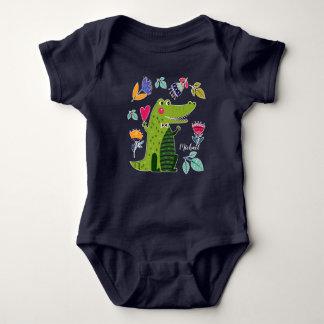 Body Para Bebê Crocodilo engraçado com os Bodysuits feitos sob