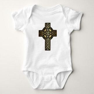 Body Para Bebê Cruz celta do nó no ouro e no preto