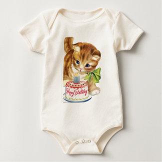 Body Para Bebê Cumprimento retro do bolo de aniversário do