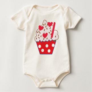 Body Para Bebê CUPCAKE dos corações da morango